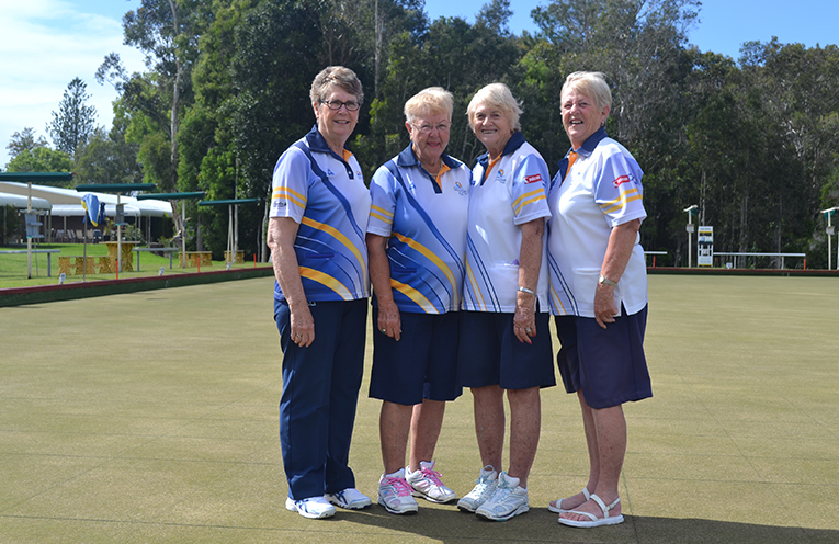 Minor Pairs Finalists: Runners Up Christine Fossey and Pam Gilchrist. Winners Bev Rhodes and Lynne Green.
