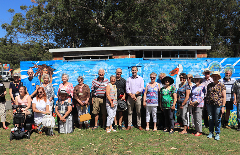 Many of the Artists who participated in the project with Mayor Ryan Palmer.