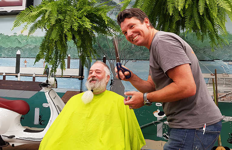 BEFORE THE BIG SHAVE: Russell Turner and Ben Hanson.