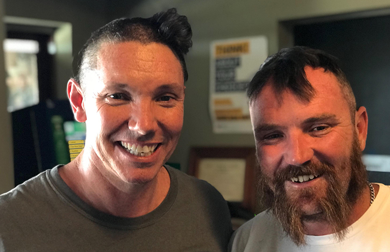 'MOVEMBERS'BIG SHAVE: Ben Hanson and mate Rob raise $1,000 for Gracie's Leukaemia battle.