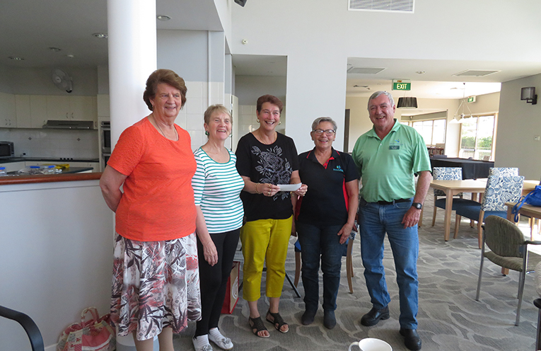 GRANGE DONATION TO MEALS ON WHEELS: Margaret Marlow, Linda Curran, Mary Cooper, Emilie Tseronis and Dan Holmes.