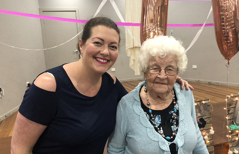 The affable Joyce Wood with her great-niece and Port Stephens Councillor, Jaimie Abbott.