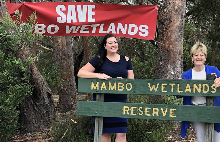 Port Stephens Liberal Candidate Jaimie Abbott with Catherine Cusack MLC at Mambo Wanda Wetlands earlier this year.  Photo by Marian Sampson.