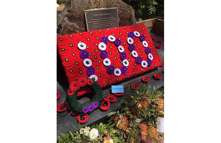 The board of poppies created by the Williamtown Defence Family Group.