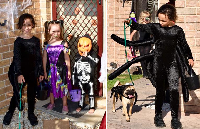 Ryah, Tori, Marcus and Jinxy. (left) Ryah and Jinxy - spider buddies. (right)