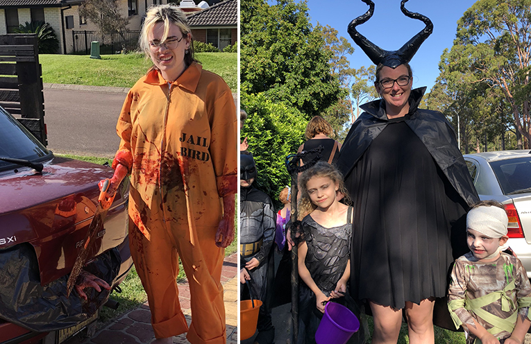 The Mowle's were a spooky hit on halloween this year. (left) Holly, Ryan and Anna dressed up for halloween.  (right)