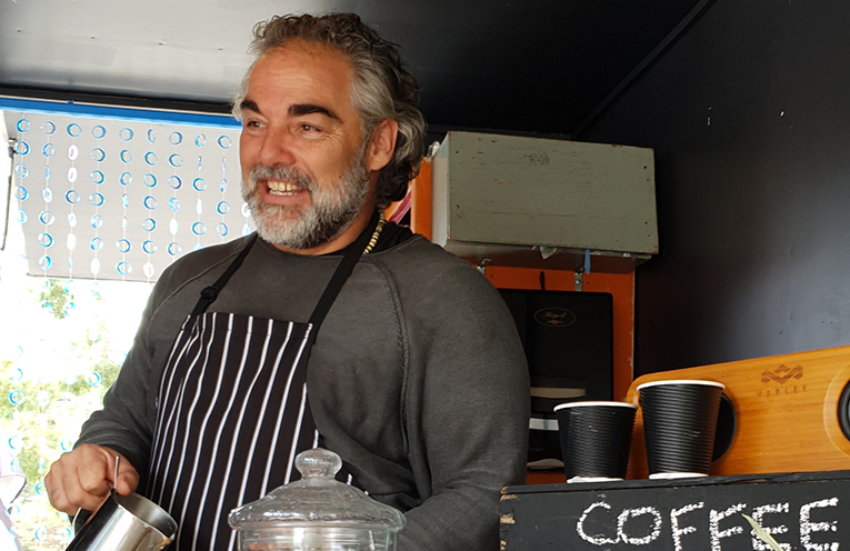 Bradley Cox in the new upcycled Coffee Van.