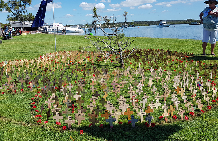 REMEMBRANCE DAY: Sea of Crosses in the shape of a poppy.