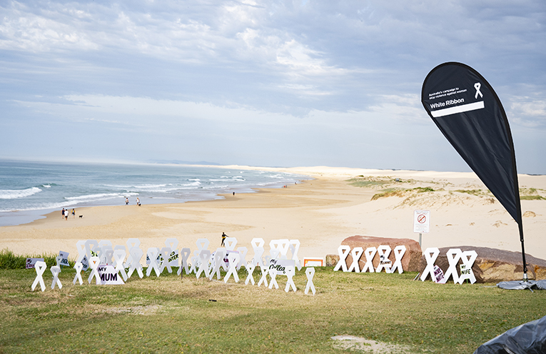 59 White Ribbons, 59 lives lost this year.  Photo by Ethan Smith Surfing NSW.
