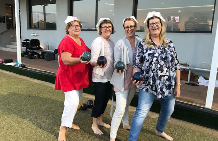 The Nurses team at Barefoot bowls - Sue Thorne, Kaylie Withers, Katrina Dorman and Debbie Ussher.