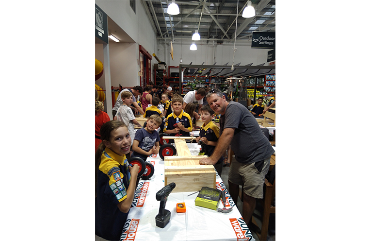 Scouts building Billy Carts at Bunnings.