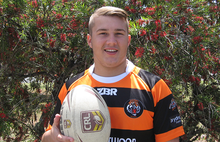 Blake at his Tanilba Bay home.....Rugby League career well on track.