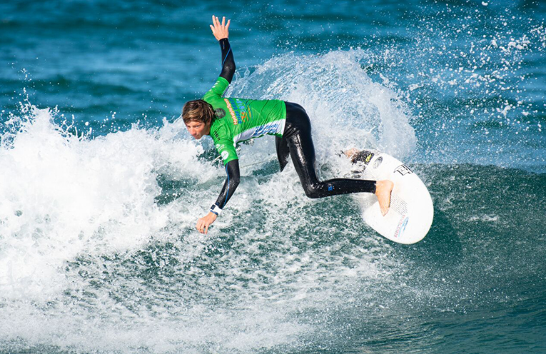 Port Stephens' own Mike Clayton-Brown competing at the Kaos Surf PRD Cadet Cup. Photo Ethan Smith Surfing NSW.