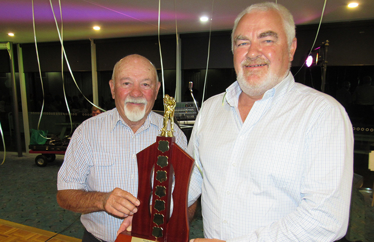 SUMMER CLASSIC WINNER: Peter Martin with Hawks Nest Golf Club President Stephen Gately.
