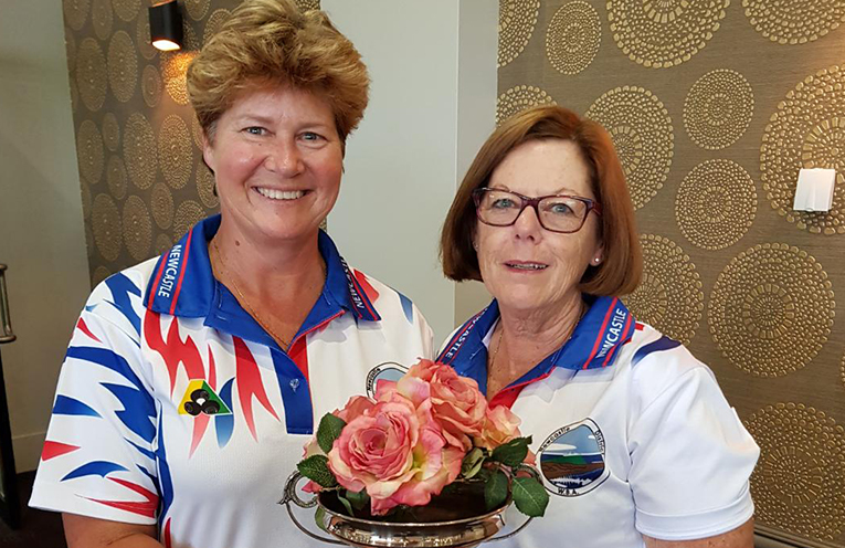 Robyn Beaumont and Kayelene Pearson Holding the Rose Bowl Trophy.