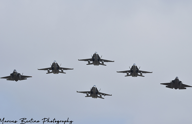 The Classic Hornets welcome in the new generation of fighter jets, the F-35A Joint Strike Fighter Jets.
