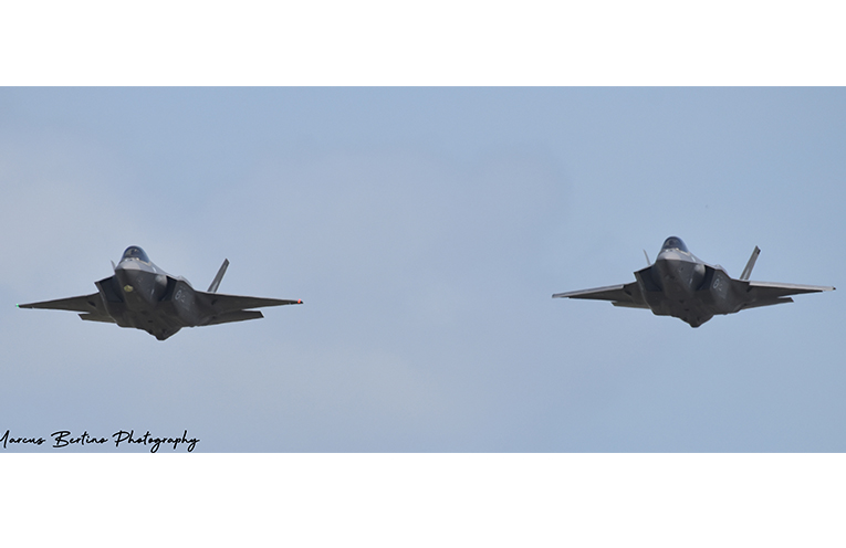 Flying in formation, the two new F-35A Joint Strike Fighter Jets together.