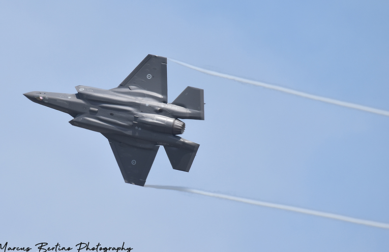 There is no mistaking the new  F-35A Joint Strike Fighter Jets.