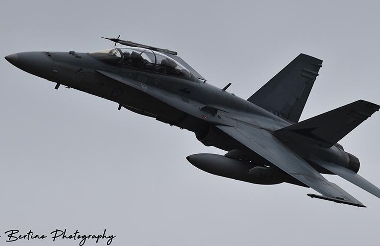 Farewell to a fine specimen of an F/A-18B, Classic Hornet.