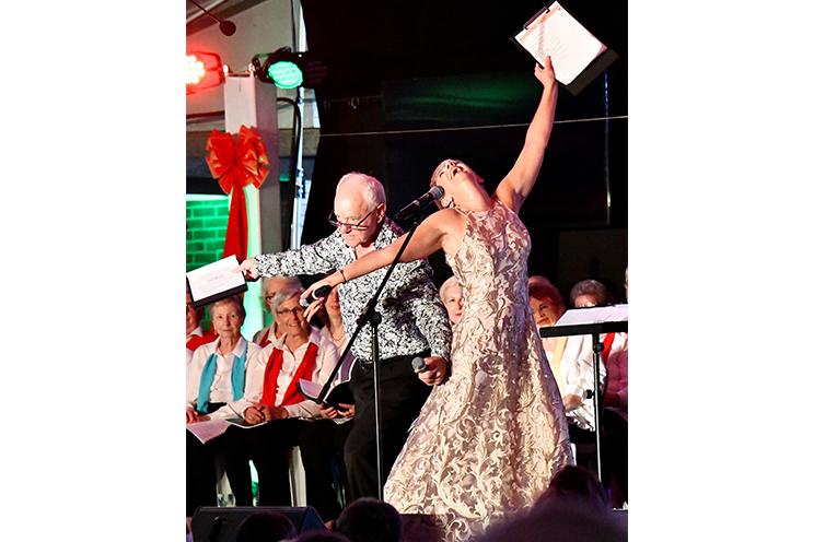 COMMUNITY CAROLS: Hosts Neil Kibble and Donna Howarth.