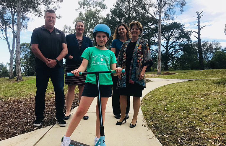 Eleven year old Anna Johnson with Port Stephens Council's Facilities & Services Manager Greg Kable, Jaimie Abbott, Deputy Mayor Sarah Smith and Catherine Cusack.