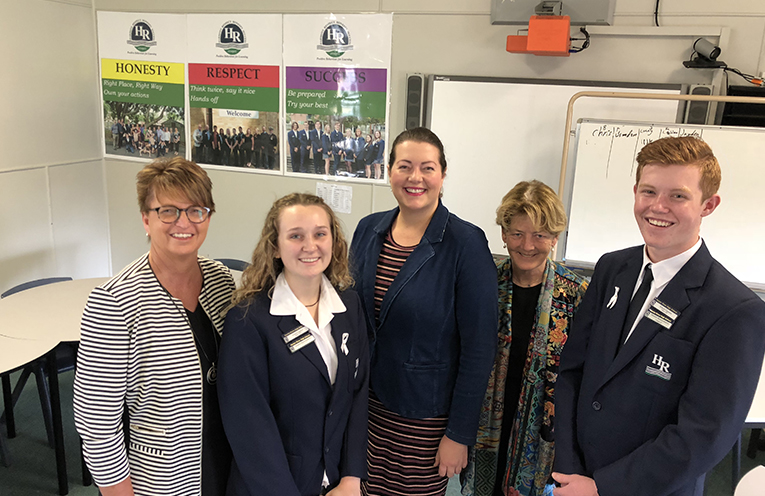 Hunter River High School Principal Debra Dibley with students Megan Snow and Dylan Eyb with Liberal Candidate for Port Stephens and Port Stephens Duty MLC the Hon Catherine Cusack announcing NSW Government funding for Port Stephens Schools to be air conditioned.