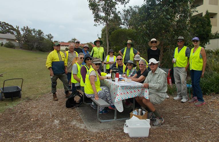 The Corelette landcare Group enjoying morning tea after a regular working bee.