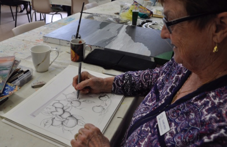 MYALL CENTRE ARTIST:Clare Yates working with pencil.