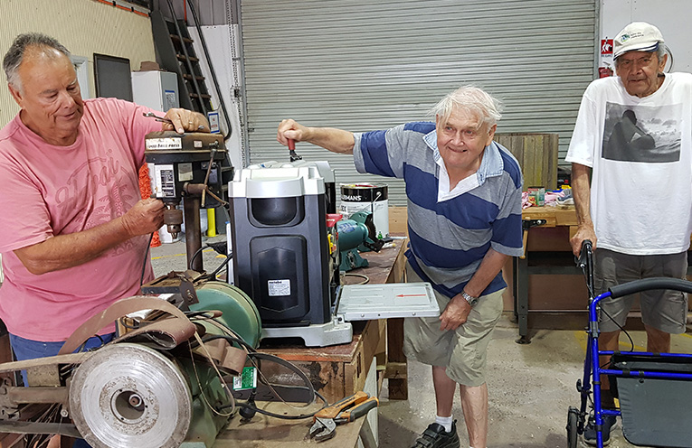 TEA GARDENS MEN'S SHED MEMBERS: Ray Curtis, Vic Logie and Jules Anseline.
