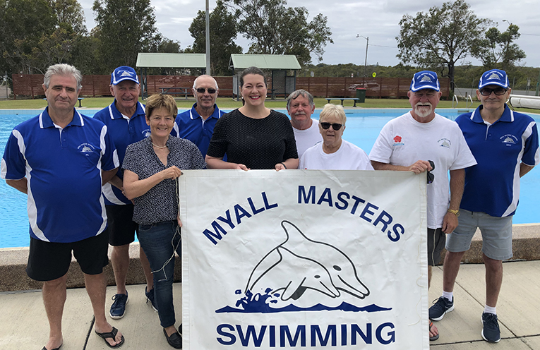 GOVERNMENT FUNDING ANNOUNCEMENTS: Liberal Candidate Jaimie Abbott and MLC Catherine Cusack join members of the Myall Masters Swim Club.