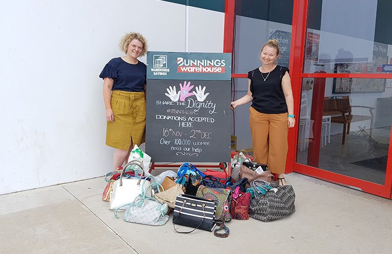 Clair Wotton and Sarah Bailey with the generous donation from Irrawang High School.