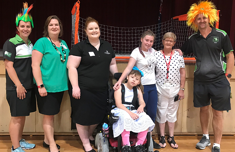 Sarah Heffernan Year 8 Adviser, Kate and Rachel from Cerebral Palsy Alliance, Ally Cook, Bonnie Cook, Margaret cook, and Damian Hurley Year 8 Adviser.