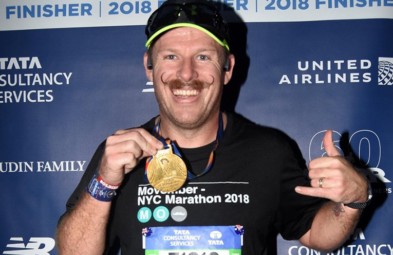 Darren after competing in the New York City Marathon.