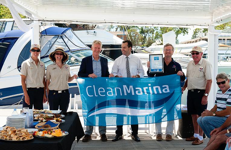 Pictured the Marina's staff, Alex Jones, Carmen Holden, Colin Bransgrove, Port Stephens Mayor Ryan Palmer, Soldiers Point Marina General Manager Darrell Barnett and Dockhand Jim Duncan.