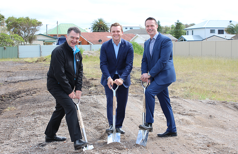Homes4Life CEO Charles Northcote, The Hon Taylor Martin MLC and Lake Macquarie Councillor Jason Pauling turn the first sod on Hunter Residences Redevelopment.
