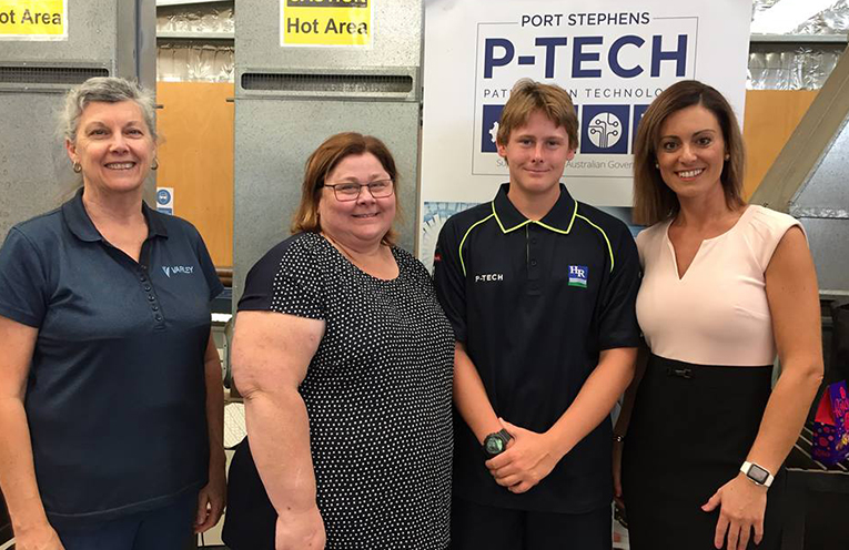 Jan Dobbie (HR Manager Varley Group), Karen Forsyth (Lachlan's mother), Lachlan Forsyth (Year 10 P-TECH Student and new School Based trainee at Varley Group in 2019) and Liana Nadalin (Industry Liaison Officer HRHS)