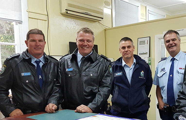 LOCAL POLICE COMMAND: Constable Trent Moffat, Senior Constable Dave Coyle, Senior Constable Rob Wylie and Sergeant Jeff Farmer.