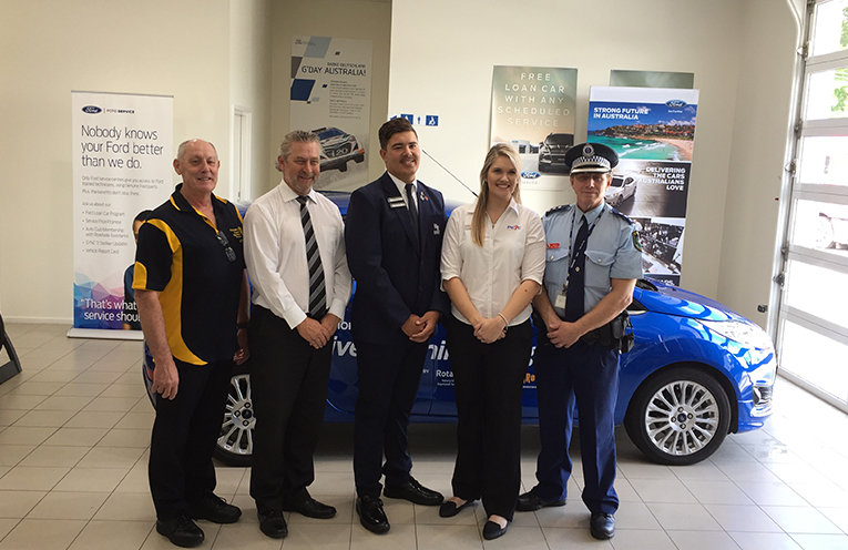 Steve Merritt (President Rotary Club of Raymond Terrace), Brad Heuchan (General Manager Klosters Ford), Kieran Morley (First graduate of the course), Rebecca Fleming (PCYC), Tony Townsend (Chief Inspector Stephens-Hunter Police District).