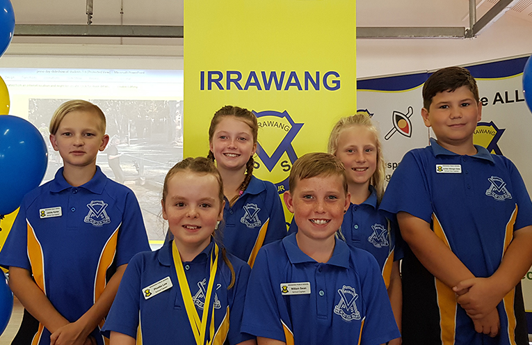 Irrawang Primary School 2019 Student Leaders. Jakoby Hunter, Phoebe Low, Kaitlyn Taylor, William Swan, Maggie Castles and Lachlan Hilzinger-Geise.