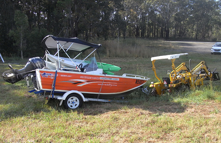 Sailability tractor and trailer abandoned after being bogged.