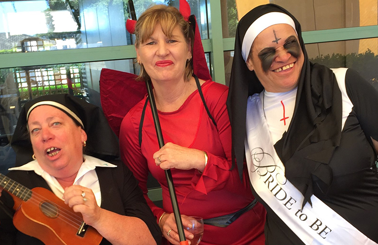 SINNERS AND SAINTS: Liz Tenby, Sue Abrahams and Maria Duroux.