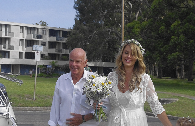 Father of the Bride Gary Hill with Leah Hill. Photo by Marian Sampson.