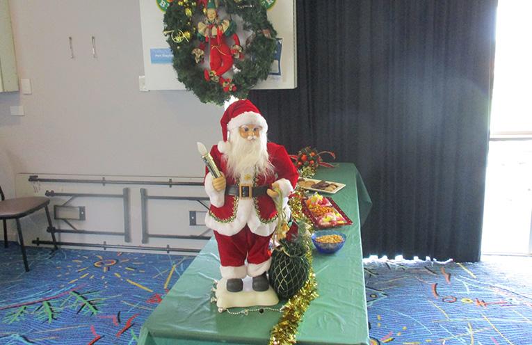 Santa takes his stand.  Photo by Lynn Moffit.