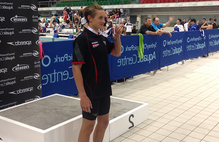 15 year old Buckley Ingram with his Bronze Medal for the 200m Breaststroke at the State Championships.