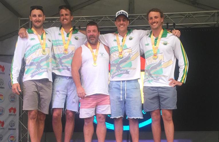 WORLD CHAMPIONS: Mitch Baker, Callan Sheldon, Sweep Greg Ross, Chris 'Turtle' Sando and James Fitzpatrick.