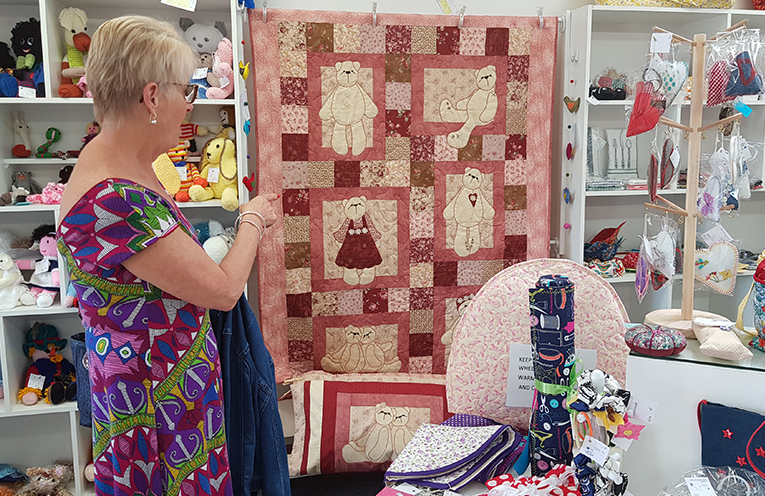 MYALL ART AND CRAFT CENTRE: Holidaymaker Liz Cullen in the Craft Shop.
