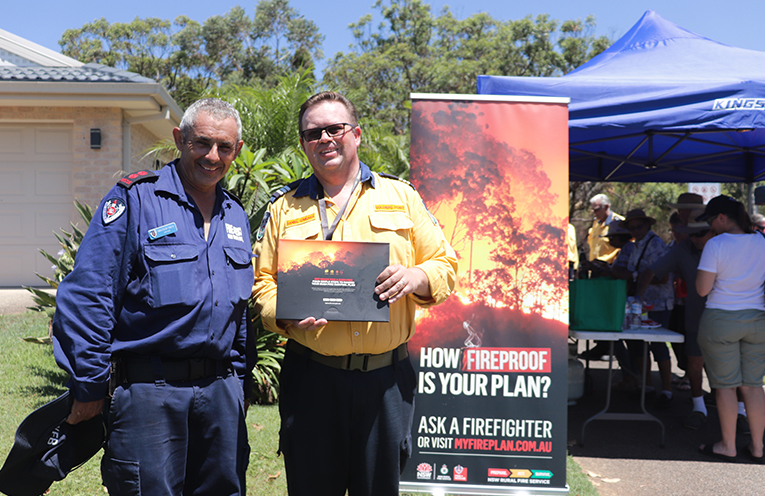 NSW Salamander Bay Fire Service Captain Malcolm Smith with Captain Daniel O'Meara of Soldiers Point Rural Fire Service. Photo by Marian Sampson.