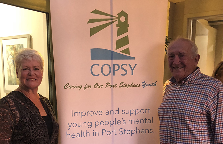 Jewell Drury and Geoff Basser are members of the COPSY team who are passionate about helping the youth of Port Stephens.