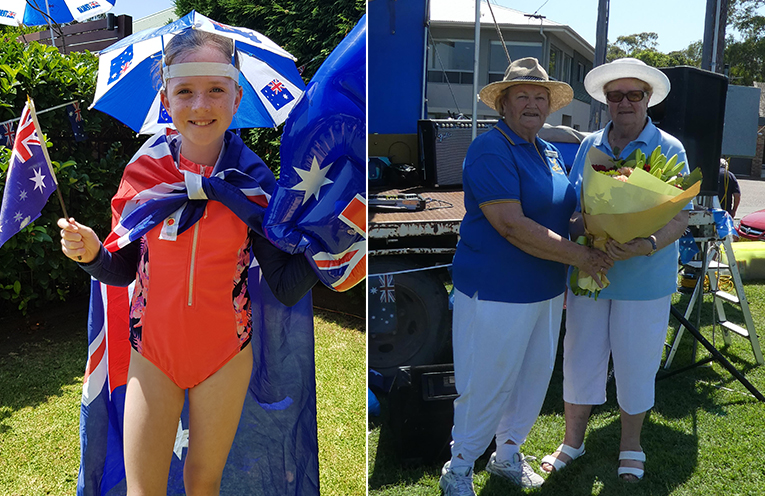 AUSTRALIA DAY BREAKFAST: Emily McAndrew. (left) CITIZEN OF THE YEAR: Lions President Sandra Bell with Janis Winn. (right)