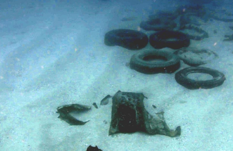 LOST CARGO FROM YM EFFICIENCY: Tyres on the seabed.